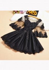 Mini robe appliqués manches volantéesgrenade col rond doux noir