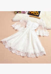 Mini robe appliqués manches volantéesgrenade col rond doux blanc