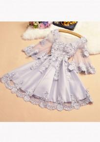 Mini robe appliqués manches volantéesgrenade col rond doux gris