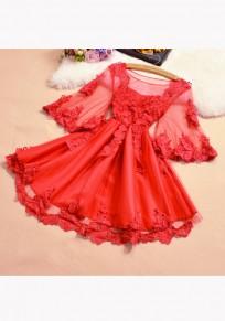 Mini robe appliqués manches volantéesgrenade col rond doux rouge