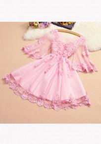 Pink Patchwork Appliques Ruffle Grenadine Round Neck Sweet Mini Dress