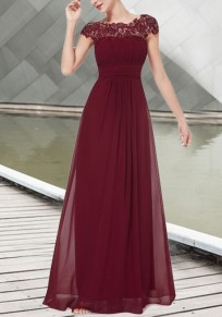 Burgundy Patchwork Draped Lace Cut Out Backless Elegant Chiffon Prom Bridesmid Maxi Dress