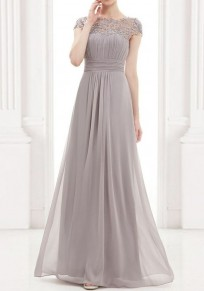 Grey Patchwork Lace Cut Out Backless Draped Ladies Elegant Chiffon Prom Maxi Dress