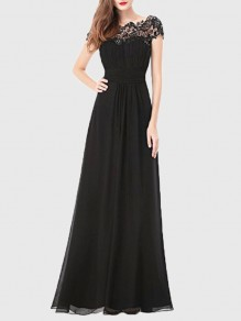 Black Patchwork Lace Cut Out Backless Draped Elegant Chiffon Prom Maxi Dress