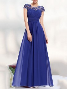 Sapphire Blue Patchwork Lace Cut Out Backless Draped Chiffon Elegant Wedding Prom Maxi Dress