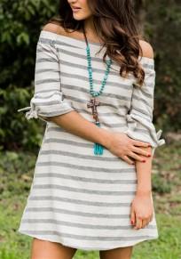 Mini robe bowknot rayé hors épaule mignonne dos nu fête gris-blanc