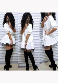 White Patchwork Grenadine Ruffle Round Neck Sweet Mini Dress