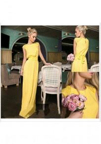 Yellow Patchwork Lace Sashes Round Neck Fashion Maxi Dress