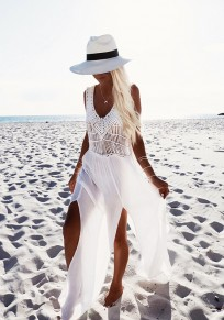 White Patchwork Cut Out Side Slit Flowy V-neck Beach Fashion Maxi Dress