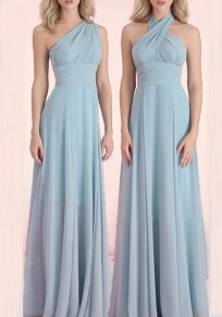 Sky Blue Draped Multi Way Banquet Bridesmaid Elegant Party Maxi Dress