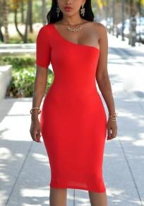 Midi-robe asymétrique épaule dos nu bodycon banquet soirée élégante rouge