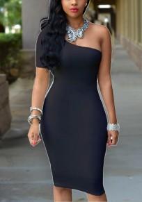 Black Asymmetric Shoulder Backless Bodycon Banquet Elegant Party Midi Dress