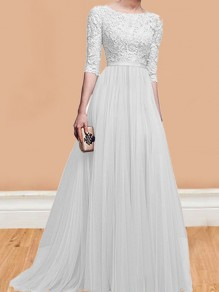 White Patchwork Lace Pleated Round Neck Elbow Sleeve Wedding Gowns Maxi Dress