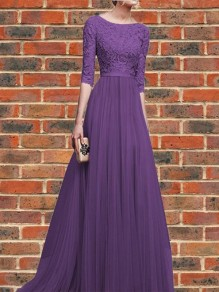 Purple Patchwork Lace Pleated Round Neck Elbow Sleeve Wedding Gowns Maxi Dress