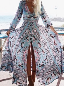 Light Blue Floral V-neck Long Sleeve Bohemian Maxi Dress
