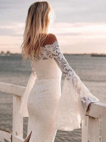 White Floral Lace Slit Off Shoulder bell sleeve Bridesmaid Cocktail Party Midi Dress