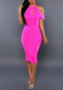 Rose Carmine Cut Out Off Shoulder Backless Bodycon Cocktail Banquet Party Midi Dress