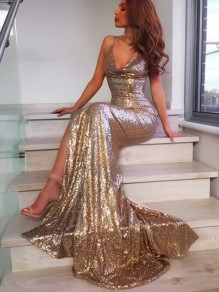 Golden Sequin Side Slit Spaghetti Strap Backless V-neck Mermaid Banquet Party Maxi Dress