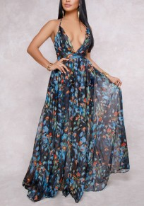 Blue Floral Ruffle Cross Back Plunging Neckline Maxi Dress
