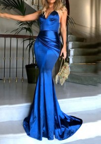 Royal Blue Draped Spaghetti Strap Mermaid Ruched Elegant Banquet Party Maxi Dress