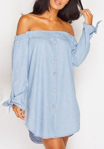Light Blue Single Breasted Bow Off Shoulder Backless Sweet Going out Mini Dress