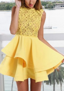 Yellow Lace Pleated Ruffle Irregular Tutu Cute Sweet Homecoming Party Mini Dress