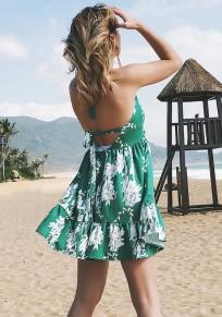Green Draped Shoulder-Strap Lace-up Backless Bohemian Sweet Mini Dress