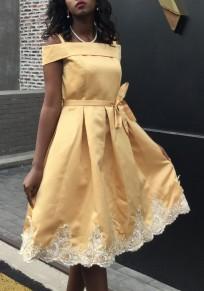 Golden Sashes Lace Pleated Spaghetti Strap Graduation Homecoming Off Shoulder Tutu Midi Dress