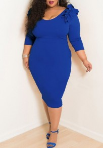 Royal Blue Ruffle Bodycon Plus Size 3/4 Sleeve Banquet Cocktail Party Midi Dress