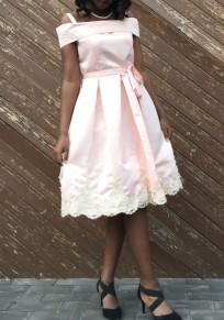 Pink Sashes Lace Pleated Spaghetti Strap Backless Tutu Sweet Midi Dress