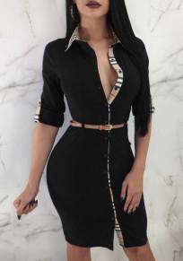 Black Plaid Single Breasted Sashes Turndown Collar Midi Dress