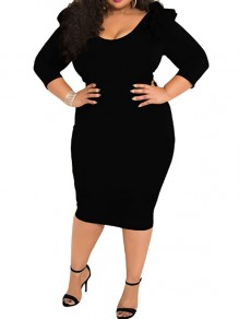 Black Ruffle Plus Size High Waisted Bodycon Elegant Party Midi Dress