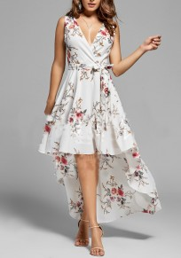 White Floral Print Belt Pleated Swallowtail High-Low Flowy Deep V-neck Casual Beach Bohemian Party Maxi Dress