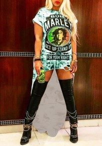 Green Bob Marley Print Swallowtail High-Low Ripped Rock And Roll Tee Mini Dress