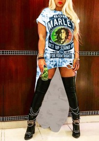 Blue Bob Marley Print Swallowtail High-Low Ripped Rock And Roll Tee Mini Dress