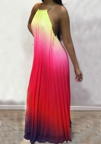 Red Pleated Rainbow Gradient Color Halter Neck Backless Maternity Photoshoot Beach Bohemian Party Maxi Dress