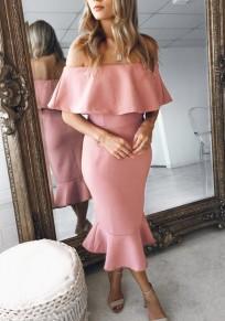 Rosa Rüschen Off Shoulder Boot-Ausschnitt Kurzarm Mode Midikleid Partykleid Abendkleid Cocktailkleid