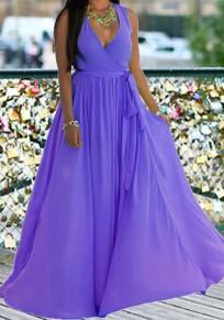 Robe longue en mousseline boho taille haute ceinture drapé v-cou sans manches mode violet