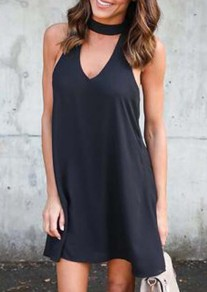 Black Cut Out V-neck Chiffon Going out Mini Dress