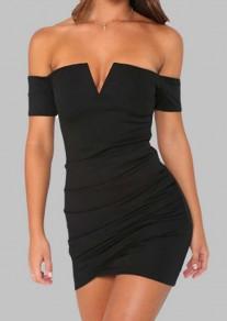 Black Zipper Off Shoulder Backless V-neck Bodycon Sweet Party Mini Dress