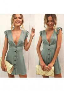 Grau Grün Einreiher Rüschen V-Ausschnitt Mode Mini Dress