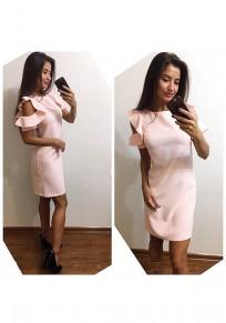 Rosa Rüschen Rundhals Kurzarm Mode Minikleid