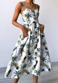 White Pineapple Print Pockets Pleated Single Breasted Spaghetti Strap Bohemian Cute Maxi Dress