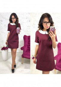 Wine Red Patchwork Round Neck Short Sleeve Fashion Mini Dress