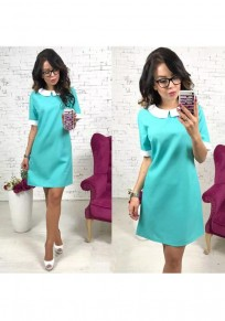 Sky Blue Patchwork Round Neck Short Sleeve Fashion Mini Dress