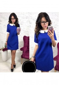 Blue Patchwork Round Neck Short Sleeve Fashion Mini Dress