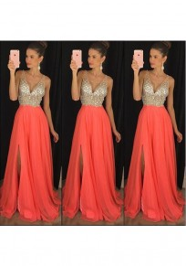 Orange Patchwork Sequin Pleated Side Slit Bridesmaid Banquet Party Maxi Dress
