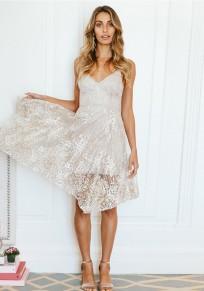 White Floral Lace Condole Belt Zipper V-neck Short Sleeve Fashion Midi Dress