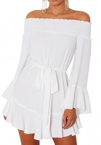 White Drawstring Pleated Boat Neck Long Sleeve Fashion Mini Dress