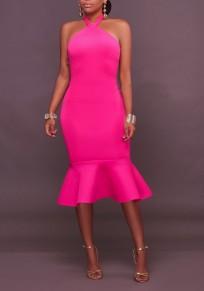 Rose Carmine Buttons Ruffle Halter Neck Backless Bodycon Elegant Party Midi Dress